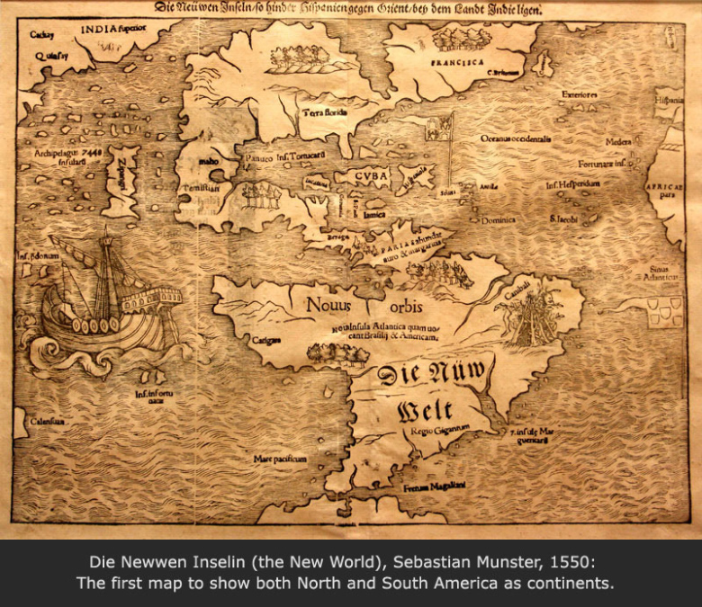 Die Newwen Inselin (the New World), Sebastian Munster, 1550