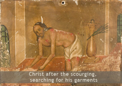 Christ after the scourging, searching for his garments