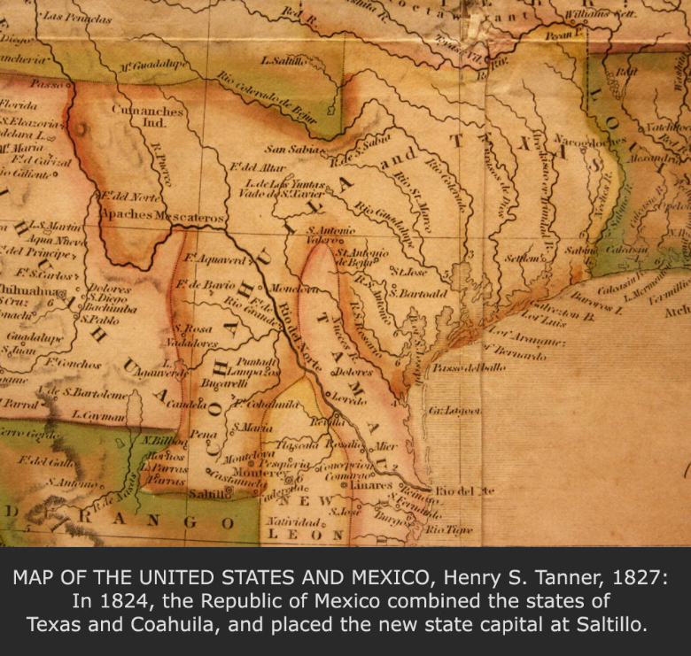 Map of the United States and Mexico, Henry S. Tanner, 1827