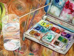 Watercolor Painting of Paints and Brushes