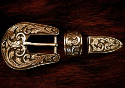 Three Piece Silver Buckle Set by Beau Compton