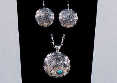 Concho Pendant and Earrings Set by Rex Crawford