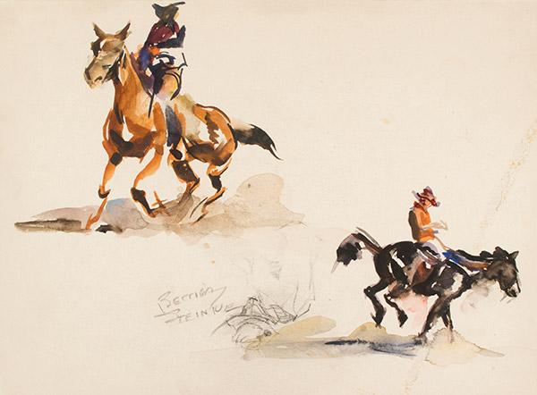 Two Cowboys on Horseback by Bettina Steinke