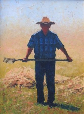 Farmer with Pitchfork by Douglas Aagard