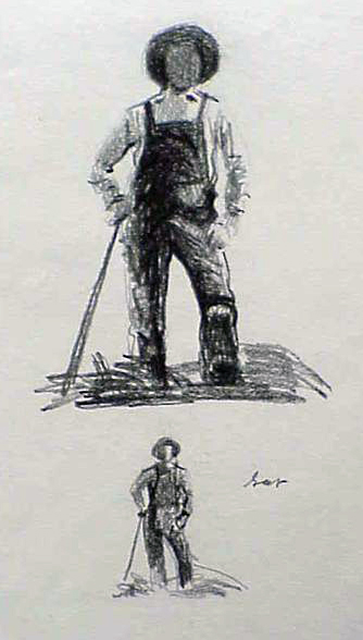 Farmer Icon Sketch by Gary Ernest Smith