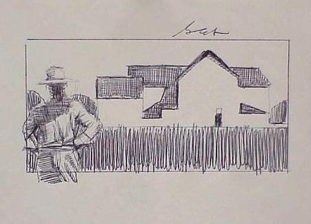 Farmer and Barn by Gary Ernest Smith