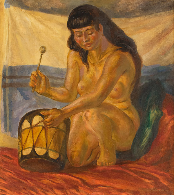 Nude with Indian Drum by John Sloan
