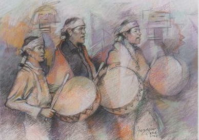 Taos Drummers by Johnson Yazzie