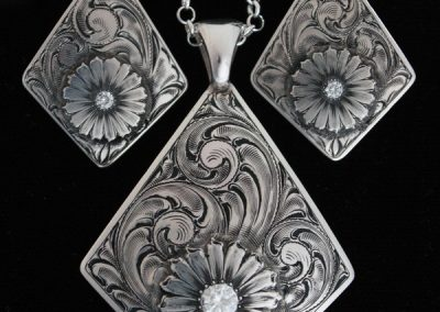 Diamond Daisy Pendant & Earring Set by Rex Crawford