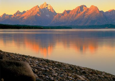 Grand Teton Mountain Sunrise, Lake Jackson, Wyoming