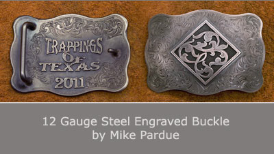 12 Gauge Steel Engraved Buckle by Mike Perdue