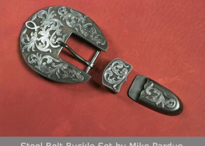 Steel Belt Buckle Set by Mike Perdue