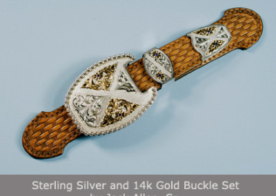 Sterling Silver and 14k Gold Buckle Set by Jack Allen, Sr.