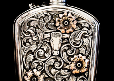 Sterling Silver Flask with Floral Overlay by Beau Compton