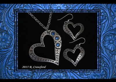 Offset Heart Pendant and Earrings Set by Rex Crawford