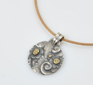 SOLD Pendant and Rawhide Necklace by Javier Ribeyrol
