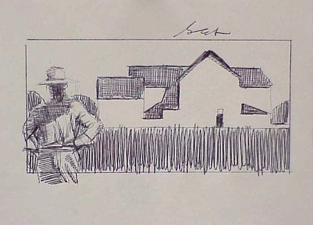 Farmer and Barn by Gary Ernest Smith