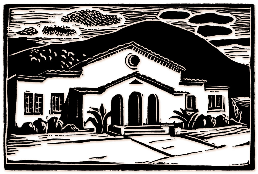 Black woodcut of the front of museum
