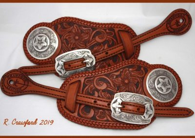 Leather Daylily Theme Buckaroo Style Spur Straps by Rex Crawford
