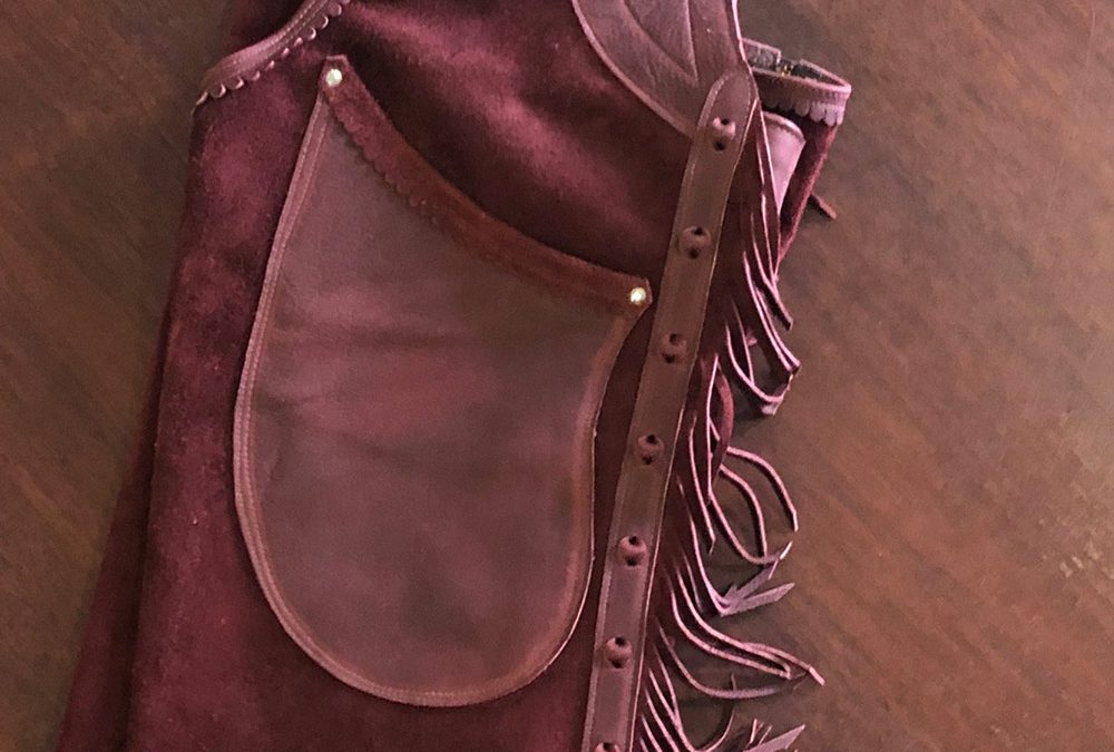 Shotgun Chaps with Engraved Steel Buckle Set by J.T. Hudson – SOLD