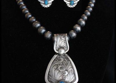 ART 2. Australian Opal Necklace & Earring Set by Rex Crawford