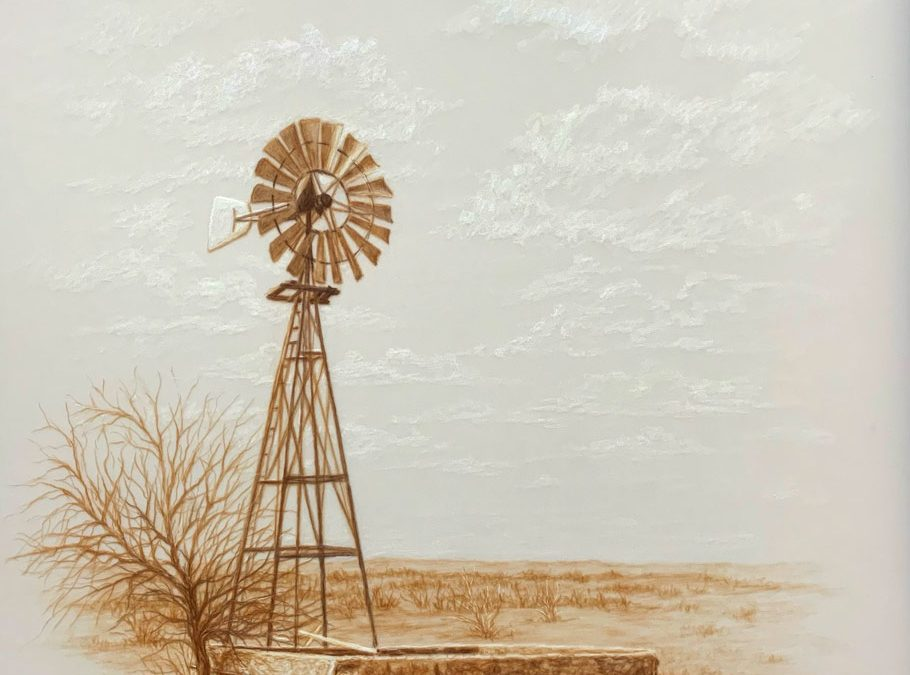 ART 80. The Little West Windmill by Kathryn Leitner – SOLD